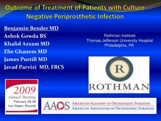 Outcome of Treatment of Patients with Culture Negative Periprosthetic Infection
