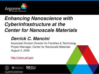 Enhancing Nanoscience with Cyberinfrastructure at the Center for Nanoscale Materials