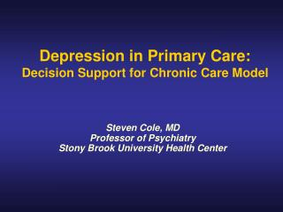Depression in Primary Care: Decision Support for Chronic Care Model