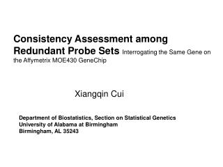 Department of Biostatistics, Section on Statistical Genetics  University of Alabama at Birmingham