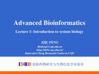 Advanced Bioinformatics Lecture 1: Introduction to system biology