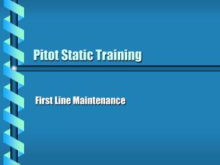 Pitot Static Training