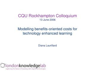 Modelling benefits-oriented costs for technology enhanced learning
