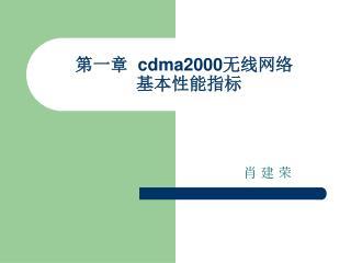 第一章   cdma2000 无线网络   基本性能指标