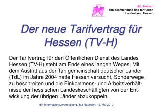 Der neue Tarifvertrag f�r Hessen (TV-H)