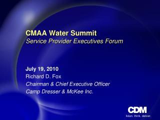CMAA Water Summit Service Provider Executives Forum