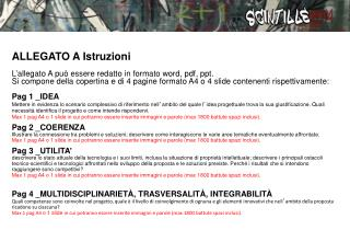ALLEGATO A Istruzioni L � allegato A pu� essere redatto in formato word, pdf, ppt.
