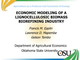 ECONOMIC MODELING OF A LIGNOCELLULOSIC BIOMASS BIOREFINING INDUSTRY