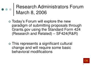 Research Administrators Forum March 8, 2006