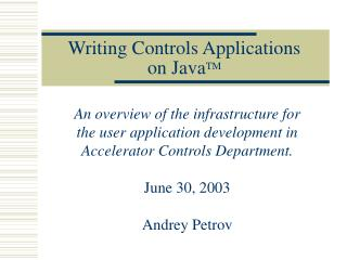 Writing Controls Applications  on Java TM