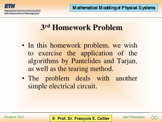 3 rd  Homework Problem