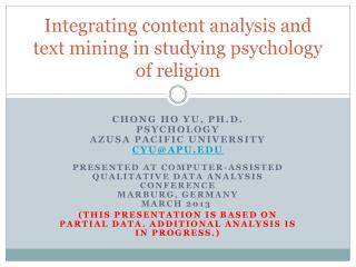 Integrating content analysis and text mining in studying psychology of religion
