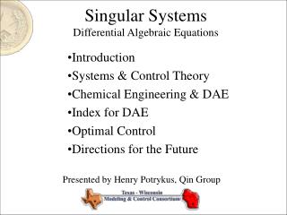 Singular Systems Differential Algebraic Equations