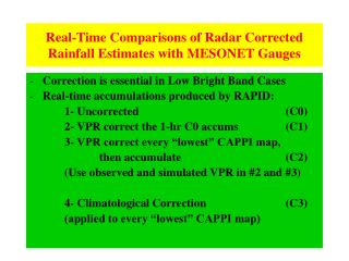 Real-Time Comparisons of Radar Corrected Rainfall Estimates with MESONET Gauges