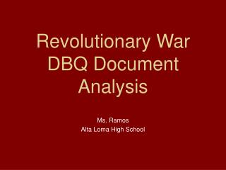 Revolutionary War DBQ Document Analysis