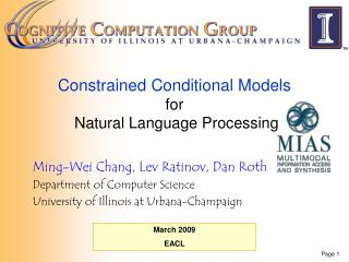 Constrained Conditional Models  for  Natural Language Processing
