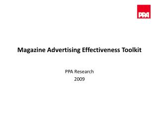 Magazine Advertising Effectiveness Toolkit