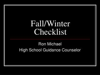 Fall/Winter Checklist