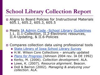 School Library Collection Report