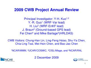 Task 1.1  Support for the WRFVar component of CWB operational system