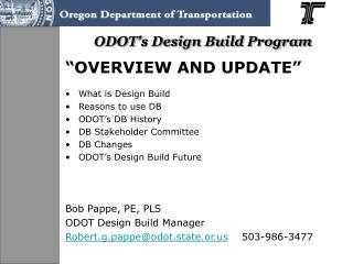 ODOT's Design Build Program