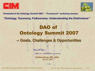 DAO of  Ontology Summit 2007