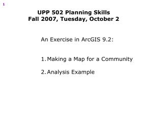 An Exercise in ArcGIS 9.2: Making a Map for a Community Analysis Example