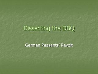 Dissecting the DBQ