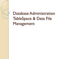 Database Administration TableSpace & Data  File   Management