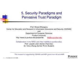 5. Security Paradigms and Pervasive Trust Paradigm