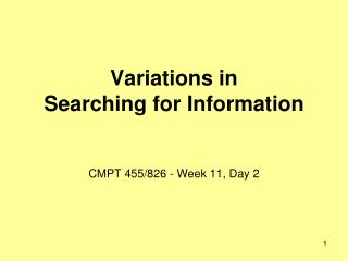 Variations in  Searching for Information