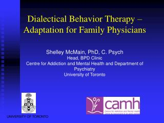 Dialectical Behavior Therapy – Adaptation for Family Physicians
