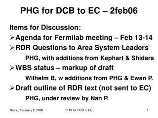 PHG for DCB to EC – 2feb06