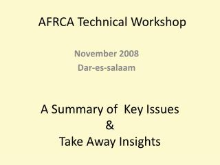 AFRCA Technical Workshop
