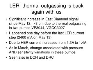LER  thermal outgassing is back again with us