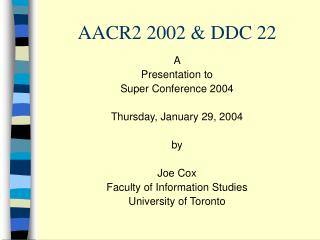 AACR2 2002 & DDC 22