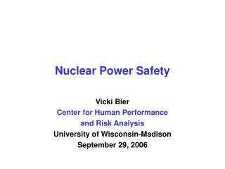 Nuclear Power Safety