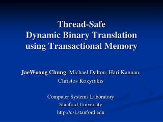 Thread-Safe  Dynamic Binary Translation  using Transactional Memory