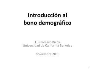 Introducción al bono demográfico