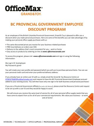 BC PROVINCIAL GOVERNMENT EMPLOYEE DISCOUNT PROGRAM