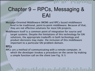 Chapter 9 � RPCs, Messaging & EAI