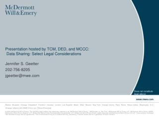 Presentation hosted by TCM, DED, and MCCC:  Data Sharing: Select Legal Considerations
