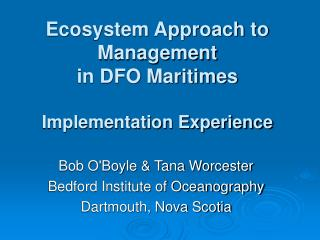 Ecosystem Approach to Management in DFO Maritimes Implementation Experience