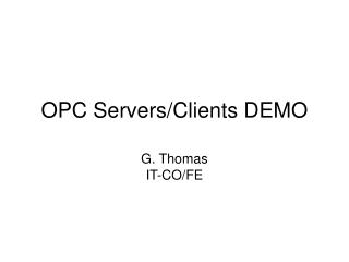 OPC Servers/Clients DEMO