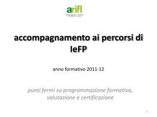 accompagnamento ai percorsi di IeFP anno formativo 2011-12