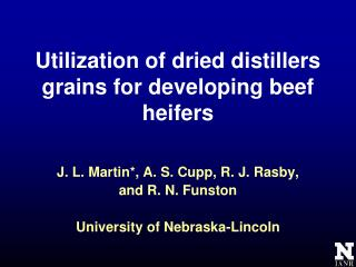 Utilization of dried distillers grains for developing beef heifers
