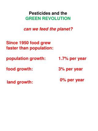 Pesticides and the GREEN REVOLUTION can we feed the planet?