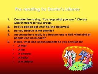 Pre-reading for Dante's  Inferno