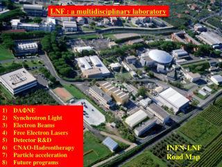 DA F NE  Synchrotron Light Electron Beams Free Electron Lasers Detector R&D CNAO-Hadrontherapy