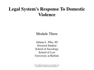 Legal Systems Response To Domestic Violence